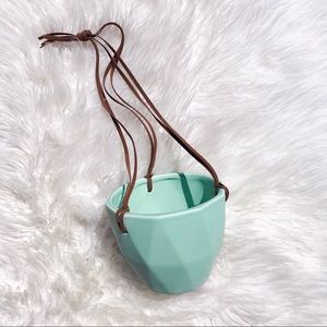 Porcelain Teal Hanging Plant Holder